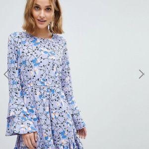 Vero Moda floral mini dress with ruffle sleeve